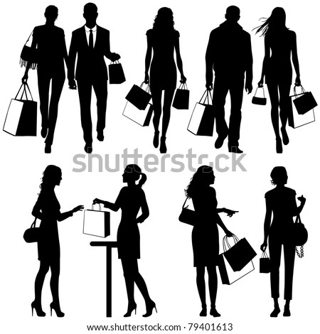 several people, shopping - vector silhouettes