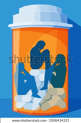 several people trapped inside a pill bottle - concept for prescription drug abuse