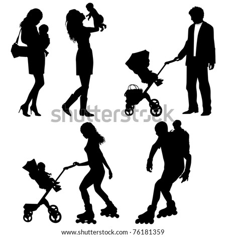 several people with children - vector silhouettes