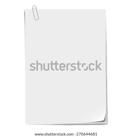 Several sheets of paper and a metal paper clip.
