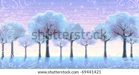 several snowy trees growing in