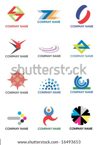 Several symbols for use on a company logo. Vector illustration.