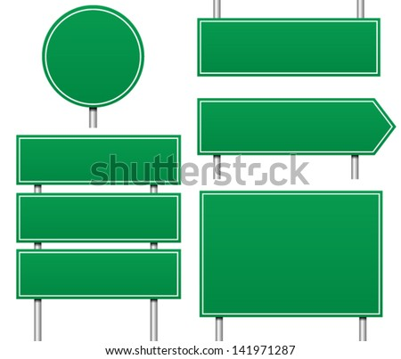 Several Types of Empty / Blank Road signs (eps 8 vector with nice blends)