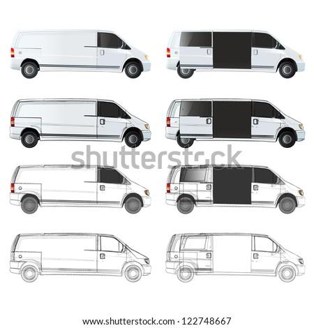 Several van sketch. Vector design.