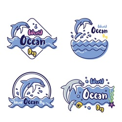Several vector flat designs from cute icons of dolphins play at water to celebrate Ocean World Day.