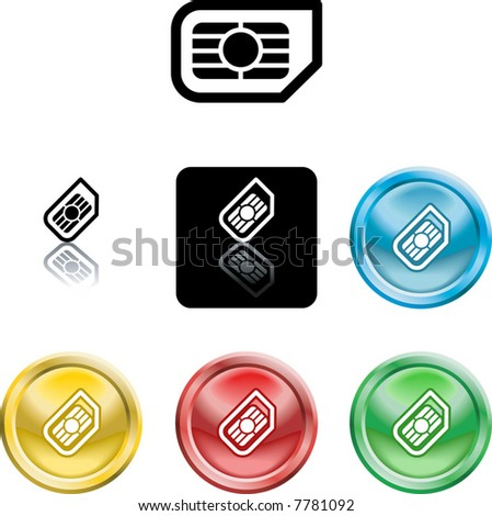 Several versions of an icon symbol of a stylised mobile phone sim card - stock vector