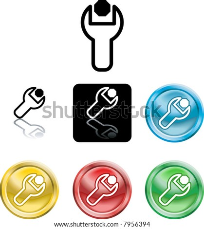 Several versions of an icon symbol of a stylised spanner turning a nut or bolt