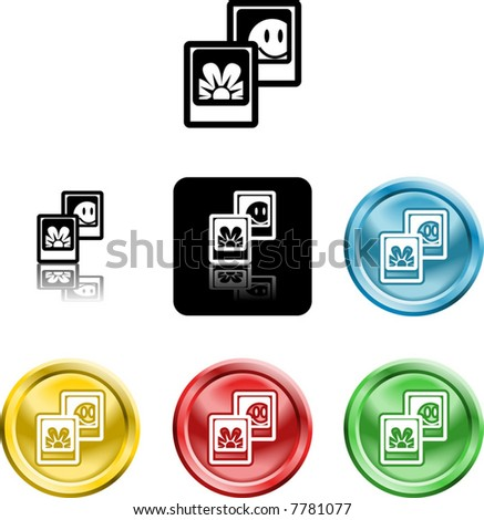 Several versions of an icon symbol of stylised photos