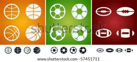 Several versions of team sport balls: basketball, soccer, american football.