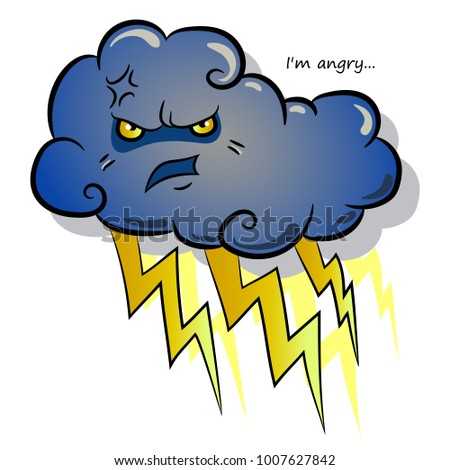 Severe cloud with lightning. Cloud character with anger. Vector.