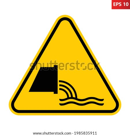 Sewage effluent outfall sign. Vector illustration of yellow triangle warning sign with sewer pipe icon inside. Flow of discharged water and unhygienic material. Safety symbol. Caution. Foto d'archivio ©