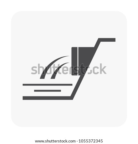 Sewer pipe and drainage system icon on white.