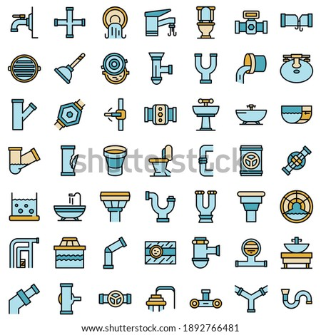 Sewerage icons set. Outline set of sewerage vector icons thin line color flat on white Stock photo ©