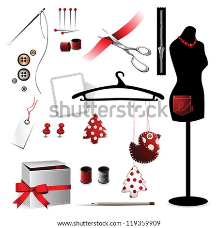 Sewing accessories elements icon red