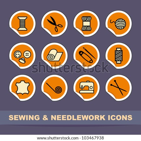 Sewing and needlework icons on stickers