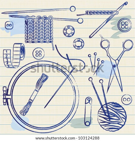Sewing and needlework related symbols on lined paper background