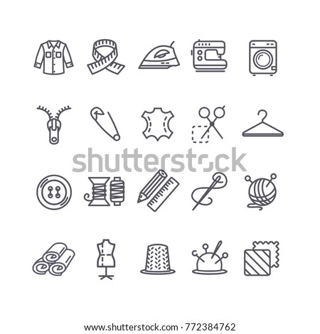 Sewing and Needlework Tool Black Thin Line Icon Set Include of Cloth, Iron, Pin and Button. Vector illustration