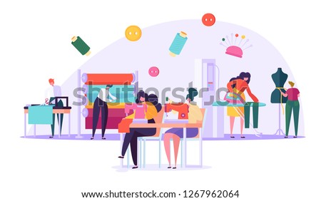 Sewing Clothes Textile Factory Flat Vector Drawing. Seamstress Character Working with Thread Machine in Handmade Fashion Atelier. Cloth Manufacturing Worker Collection Cartoon Illustration