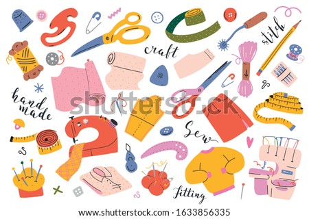 Sewing collection. Vector illustrations of sewing tools, equipment and accessories. Modern flat cartoon style, hand drawn isolated drawings, sewing machine, overlocker, scissors and measuring tape