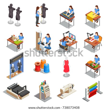 Sewing factory set of isometric icons with people during measurement, tailoring, ironing, creation design isolated vector illustration