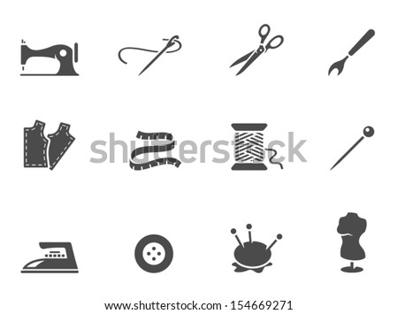 sewing icons in black   white