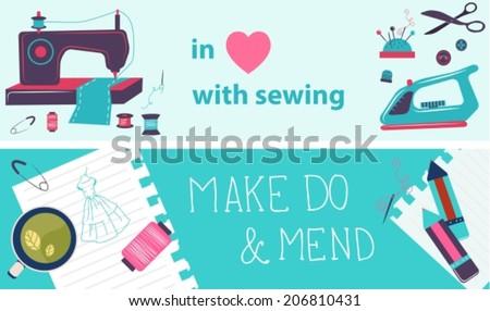 sewing illustration  flat