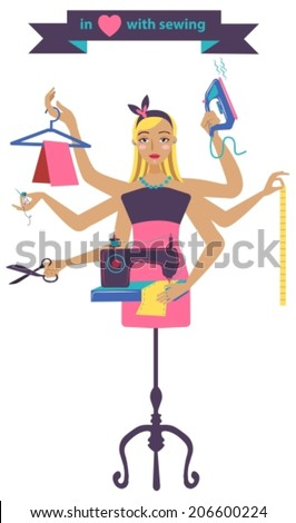 Sewing illustration with dressmaker and different tools, craft color beautiful background, VECTOR - stock vector