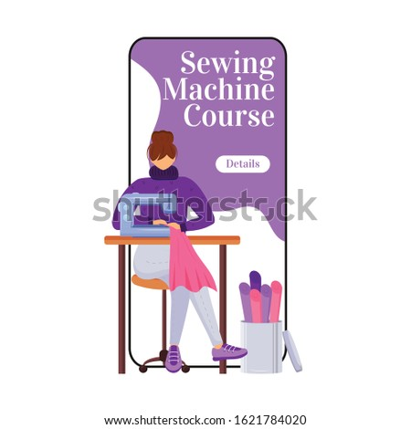 Sewing machine course cartoon smartphone vector app screen. Beginners fashion class. Mobile phone display with flat character design mockup. Atelier techniques workshop application telephone interface