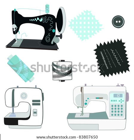 Sewing machine kit black, white and blue vector