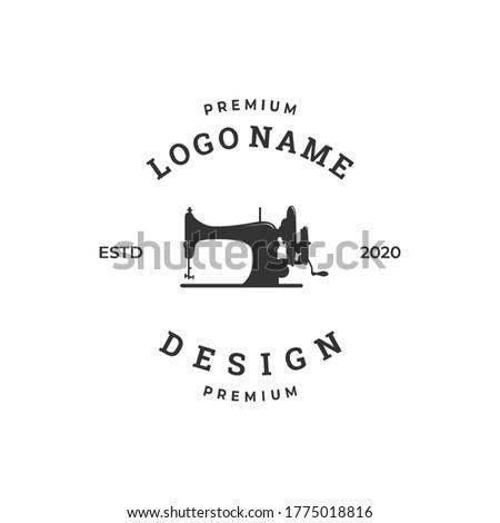 sewing machine logo concept, textile industry design template Foto d'archivio ©