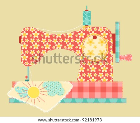 Sewing machine. Patchwork vintage series. Vector illustration.