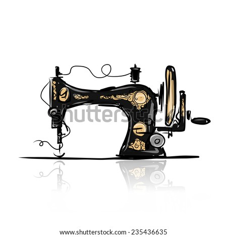 sewing machine retro sketch for ...