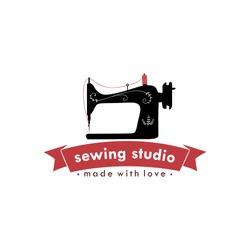 Sewing Machine Vintage Logo, Tailor Sewing Vintage Logo, Fashion Retro Simple Logo, Vector Design Template