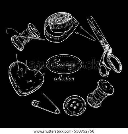 Sewing objects set on the black background. Vector template.