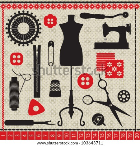 Sewing related elements on white textured background
