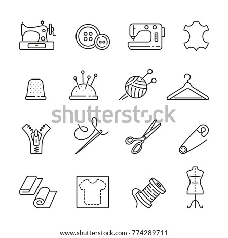Sewing related icons: thin vector icon set, black and white kit