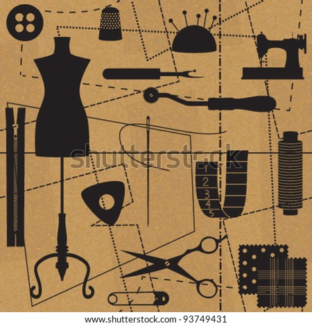 Sewing related symbols with seamless pattern background
