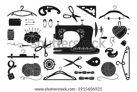 Sewing set black glyph, thread and scissors yarn, needle pin needle. Dressmaking needlework tools. Cartoon sewing accessories. Needlework stitch fancywork, machine embroidery. Vector illustration Stock photo ©
