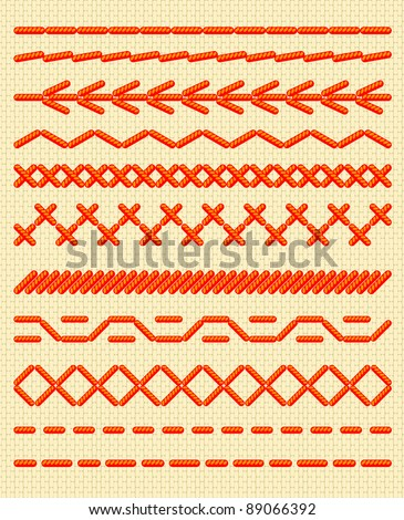 Crochet Stitches Vector : stock-vector-sewing-stitches-seamless-borders-vector-illustration ...