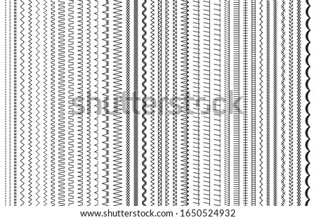 Sewing stitches. Vector. Embroidery and sew seamless pattern. Set of machine thread seam brushes. Overlock zigzag elements. Line border isolated on white background. Simple illustration. Сток-фото ©