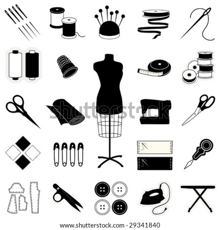 Sewing, Tailoring, Needlework Icons: fashion model, needle, thread, machine, ribbon, patterns, buttons, thimble, pincushion, sewing label, scissors. For do it yourself textile arts and crafts. EPS8.