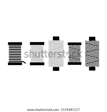 Sewing threads on spools vector set. Black isolated on white background spool thread icons.