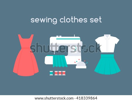 sewing women's clothes vector