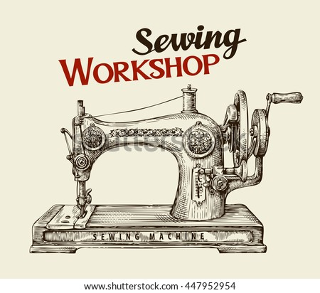 Free Vintage Sewing Machine Vector Download Free Vector Art Stock