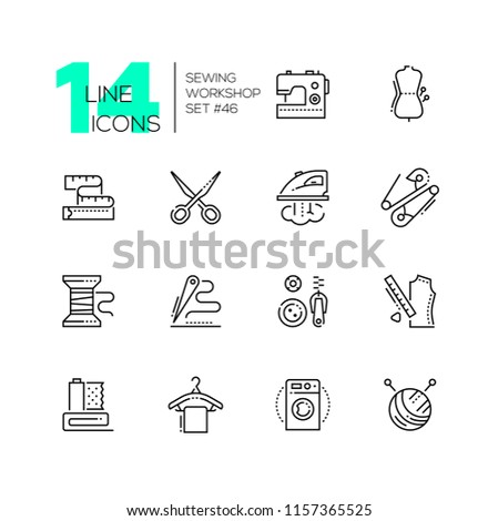 Sewing workshop - set of line design style icons, pictograms on white background. Machine, mannequin, scissors, tape measure, iron, safety pin, bobbin, needle and thread, buttons and zip, clew, hanger