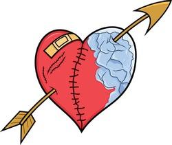 Sewn Heart Illustration, Broken heart, Valentine Day, Design Element, Hand drawn Heart, Icy love, Bandaged Love.