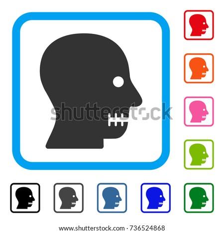 sewn mouth icon flat gray