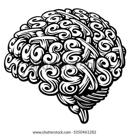 Sex Brain. Linocut Vector Illustration