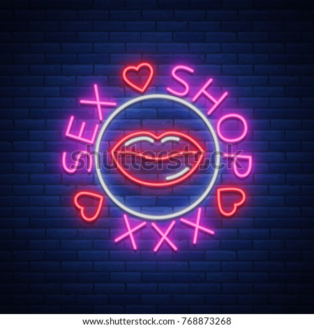 Sex shop logo, emblem in neon style. Neon effect, grocery store, intimate items. Vector illustration. Bright night banner, luminous sign, night sex advertising shop.