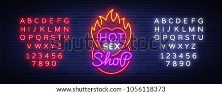 Sex shop logo in neon style. Design Pattern, Hot Sex Shop Neon sign, Light banner on the theme of sex industry, Bright neon advertising for your projects. Vector illustration. Editing text neon sign